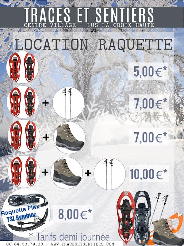 Tarifs 2015 Location Raquette